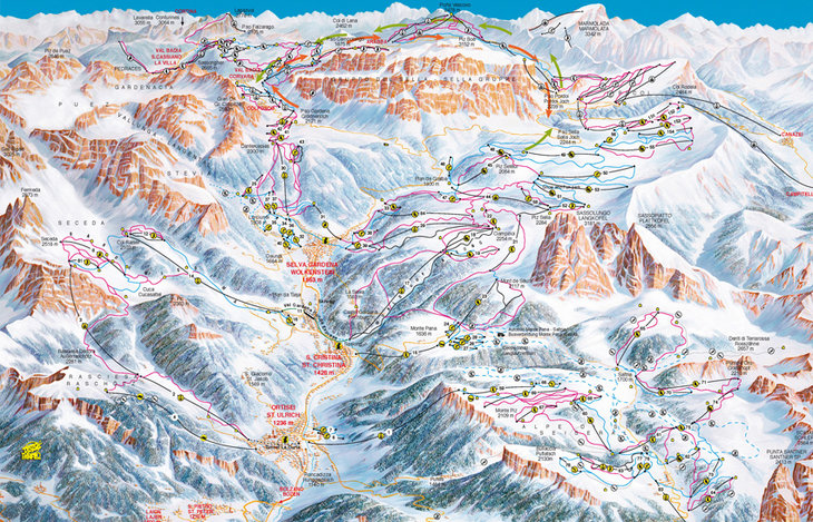 Selva Sella Ronda Piste map